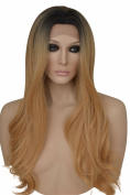 Long Blonde and and Black 2 Tone Ombre Wig