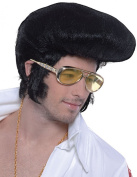 Mens Fancy Disco Party Deluxe Elvis Style High Quiff Beehive Fake Artificial Wig