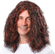 Mens Fancy Dress Party Hippy Long Curly Fake & Artificial Wig Brown/black