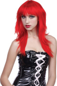 Ladies Fancy Dress Halloween Party Fringe Layered Short Fake Artificial Wig Red