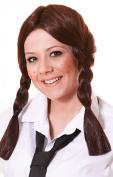 Ladies Fancy Dress Party Schoolgirl Ponytail Fake & Artificial Wig Brown