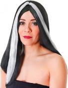 Ladies Fancy Halloween Party 46cm Long Black White Streak Straight Artificial Wig