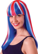 Ladies Fancy Party National Dress Union Jack Long Straight Fake & Artificial Wig