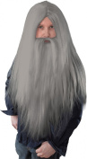 Men Fancy Dress Halloween Party Long Straight Artificial Wizard Wig + Beard Grey
