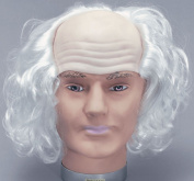 Men Fancy Dress Halloween Party Old Man White Hair Bald Head Artificial Wig