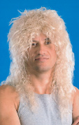 Mens Fancy Dress Music Party Rock Star Curly Fake & Artificial Wig Blonde