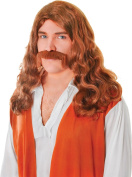 Mens Fancy Dress Party Straight Long Artificial Hippy Man Wig + Tash Set Brown
