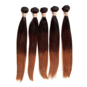Tomorrow Lover® Brazilian Straight Ombre Virgin Hair Human Hair Weave 1 Bundle 50gram T 1B/4/30 Hair Extensions