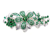 Faship Gorgeous Emerald Green Crystal Floral Hair Barrette Clip