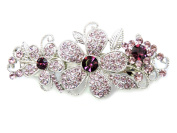Faship Gorgeous Amethyst Purple Crystal Floral Hair Barrette Clip