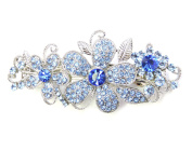 Faship Sparkling Gorgeous Blue Crystal Floral Hair Barrette