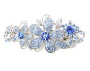 Faship Sparkling Gorgeous Blue Crystal Floral Hair Barrette