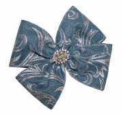 WD2U Denim & Pearls Boutique Hair Bow with Silver Scroll Accents French Clip