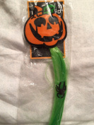 Lime Green Hair Extension Clip-in with Jack-0-Lantern & Spiders