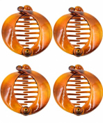 Prettyou 6.4cm Effortless Beauty Assorted Side Combs Hair Clip Comb Pin Round Banana Clips,4-count
