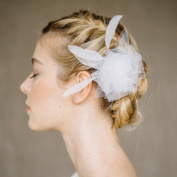 HailieStudio Handmade Women's Bride Bridesmaids White Feather Floral Gauze Bridal Hairclip