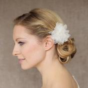 HailieStudio Women's Handmade Off White Organza Floral Wedding Bride Bridesmaids Hairclip