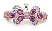YESHINE Fashion Women Peacock Full Crystal and Rhinestones Decor Alloy Hair barrette Hair Clip ,Purple