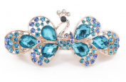 YESHINE Fashion Women Peacock Full Crystal and Rhinestones Decor Alloy Hair barrette Hair Clip,Blue