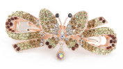 YESHINE Vintage Jewellery Rhinestone and Crystal beaded Butterfly Design Hair Barrette, for Hair Clips Beauty Tool,Golden