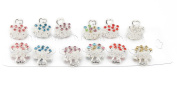 Yeshine Pack of 12pcs Silver Love Pattern Mini Jaw Clip ,Crystal and Rhinestone Claw Hair Clip