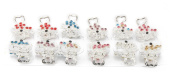 Yeshine Set of 12pcs No-slip Grip Butterfly Design Silver Plated Mini Claw Clip, with Rhinestone and Crystal Beaded Jaw Hair Clip
