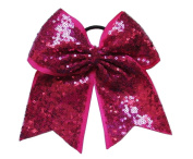 "New ""FANCY SEQUIN Magenta"" Cheer Bow Pony Tail 7.6cm Ribbon Girls Hair Bows Cheerleading Dance Practise Football Games Competition Birthday"