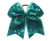 "New ""FANCY SEQUIN Ocean Teal"" Cheer Bow Pony Tail 7.6cm Ribbon Girls Hair Bows Cheerleading Dance Practise Football Games Competition Birthday"