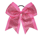 "New ""CONFETTI DOTS Pink"" Cheer Bow Pony Tail 7.6cm Ribbon Girls Hair Bows Cheerleading Dance Practise Football Games Competition Birthday"