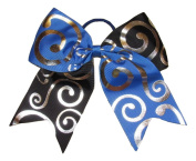 "New ""Silver Swirl BLUE & BLACK"" Cheer Bow Pony Tail 7.6cm Ribbon Girls Hair Bows Cheerleading Dance Practise Football Game Competition Birthday"