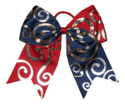 "New ""Silver Swirl RED & NAVY"" Cheer Bow Pony Tail 7.6cm Ribbon Girls Hair Bows Cheerleading Dance Practise Football Game Competition Birthday"