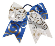"New ""Silver Swirl WHITE & BLUE"" Cheer Bow Pony Tail 7.6cm Ribbon Girls Hair Bows Cheerleading Dance Practise Football Game Competition Birthday"