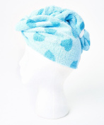 Turbie Twist Cotton Super Absorbent Hair Towel (2 Pack) Blue Hearts