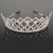 Crazy K & A Rhinestone Tiara Crystal Wedding Bridal Princess Crown Hair Comb Hair Jewellery for Women Girls