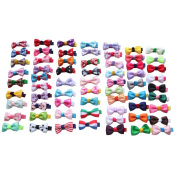 SEEKO 65PCS Handmade Cute Children Kids Mini Hair Clips Hair Alligator Bows Girl's Ribbon Hairpins Barrettes