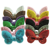 SEEKO 12PCS Girls Sequin Barrettes Cute Bow Appliques Hair Clips Accessories