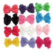 SEEKO 12PCS Hair Bow Clips Grosgrain Chiffon Flowers Bows Wedding Appliques