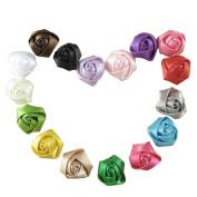 SEEKO 16PCS Rose Flower Hair Bow Appliques Headbands Making Embellishments