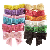 SEEKO Girls Sequin Barrettes Cute Big Bow Appliques Hair Clips Accessories