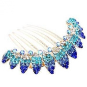 Skyus® Lovely Shiny Fashion Girl Blue Flowers Crystal Rhinestone Hair Combs