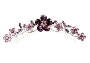 Faship Stunning Gorgeous Amethyst Purple Hair Comb Crystal Floral