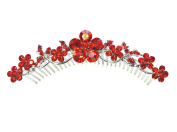 Faship Stunning Gorgeous Red Hair Comb Crystal Floral