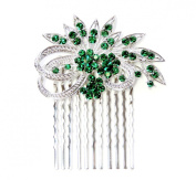 Faship Gorgeous Emerald Colour Green Crystal Floral Hair Comb