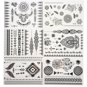 Tastto 6 Sheets Henna Body Paints Temporary Tattoos Black Lace Stickers for Girls and Women