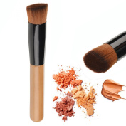 Kaith Synthetic Face Liquid Foundation Makeup Brush Flat Makeup Brushes Contour Brush Foundation Brush-1 PCS Applicator Wooden Handle Flat Tip for Blending and Even Distribution