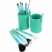 Aivtalk 12pcs Professional Premium Synthetic Makeup Brushes Set Cosmetic Makeup Brush Brushes Set Kit Leather Cup Holder Case Green