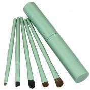Aivtalk 5pcs Professional Blending Eyeshadow Foundation Cosmetic Horse Hair Brush Set with Green Metal Brush Pot