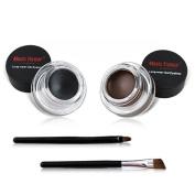 Viproo® 2 in 1 Music Flower 24H Long-wear Gel Eyeliner Waterproof Eye Liners Eye Makeup Cosmetics Set Black & Brown