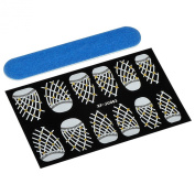 Theo & Cleo Nail Art Design Decals Decoration Tip Lace Stickers with Nail File, Grid