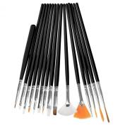 Theo & Cleo 15Pcs-Set Nail Art Design Pen Painting Polish Brush Detailing Drawing Tool Kit, Black
